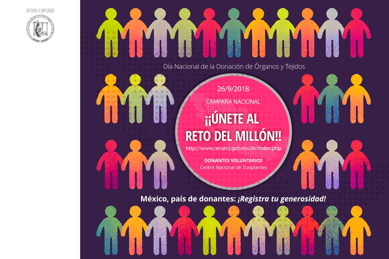 ¡¡Únete al Reto del Millón!! México, país de Donantes: Registra tu Generosidad